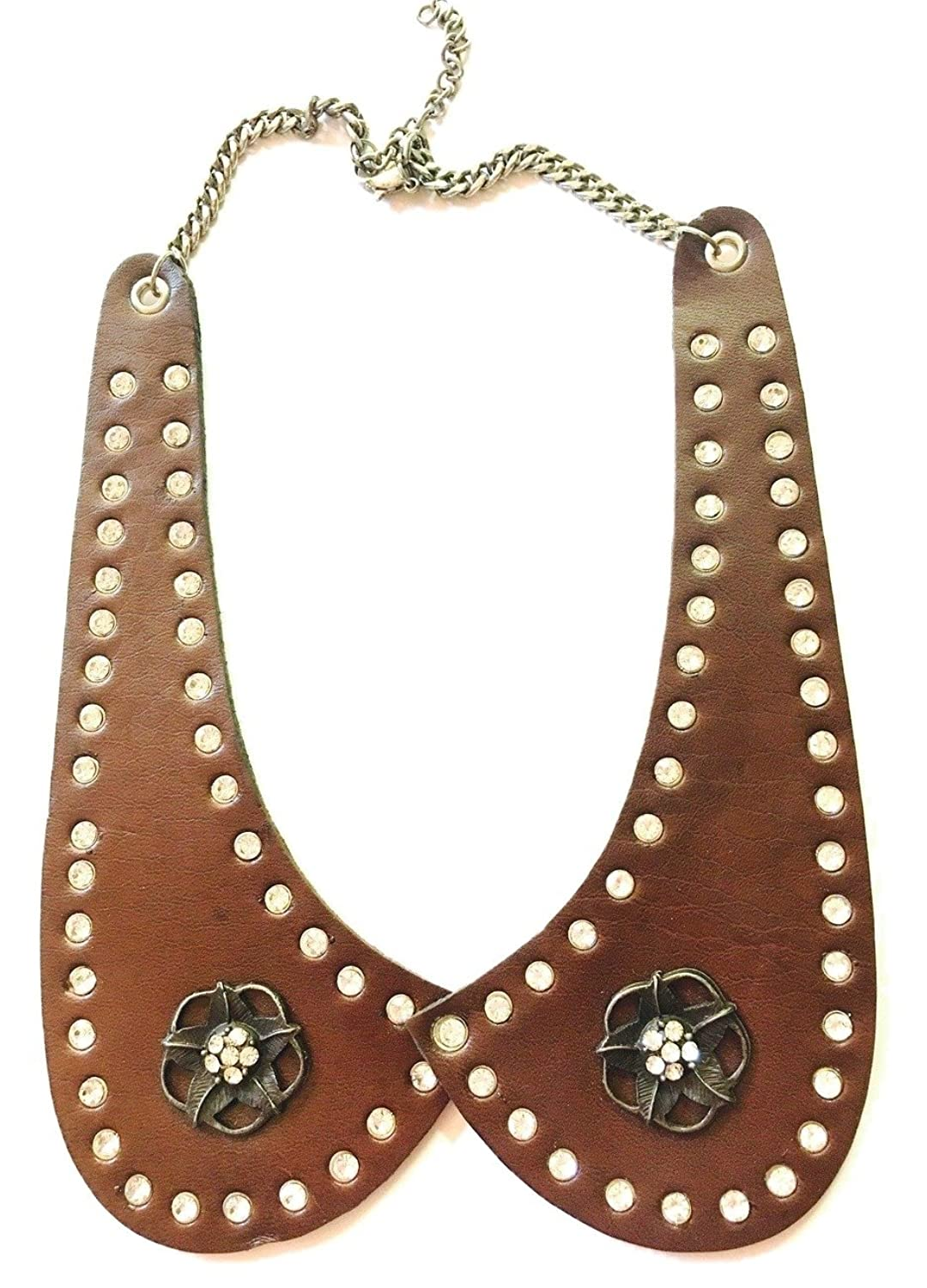 Handmade Brown Leather Metal Floral Design Collar Necklace - DeluxeAdultCostumes.com
