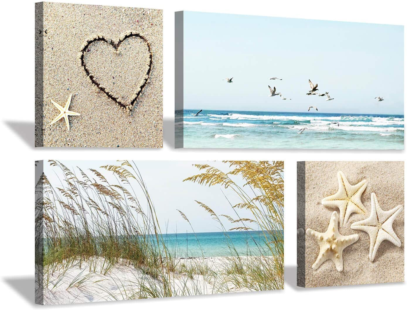 "Coastal Wall Art Seascape Artwork: Sea Grass and Starfish on Beach Canvas Painting for Living Room (12"" x 12'' x 2 Panels + 24"" x 12"" x 2 Panels)"