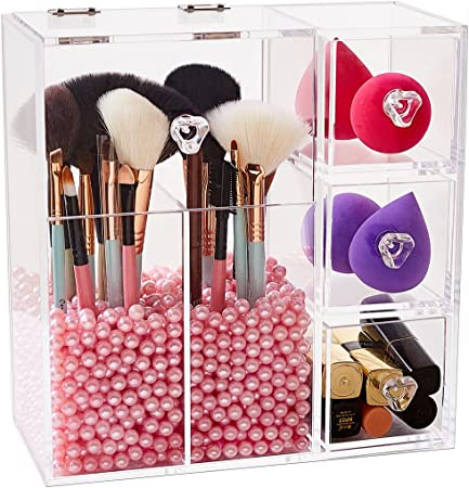 Newslly Clear Acrylic Covered Makeup Brush Holder with Dustproof Lid, 3  Drawers, Pearls Beads for Cosmetics Brushes Storage (Pink)