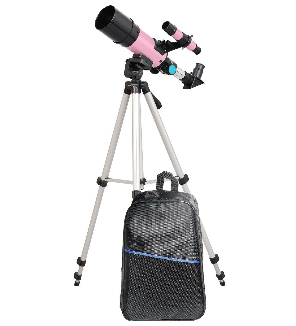 TwinStar 60mm Compact Refractor Telescope Backpack Bundle - Pink