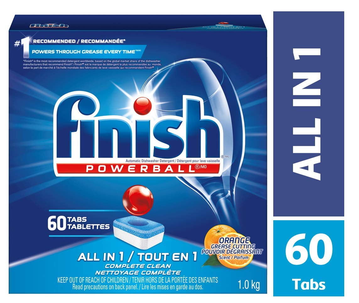 Finish Dishwasher Detergent, All in 1 Powerball, Fresh, 90 Tablets, Fast Action Clean 051700829064