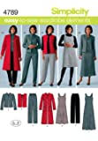 Simplicity Easy-to-Sew Wardrobe Elements Pattern 4789 Women's Pants, Vest, Jacket and Jumper Sizes 20W-28W