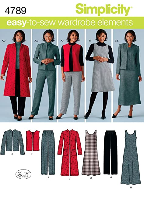 Simplicity 4789 - Patrones de costura para hacer ropa de mujer (talla BB 20W-