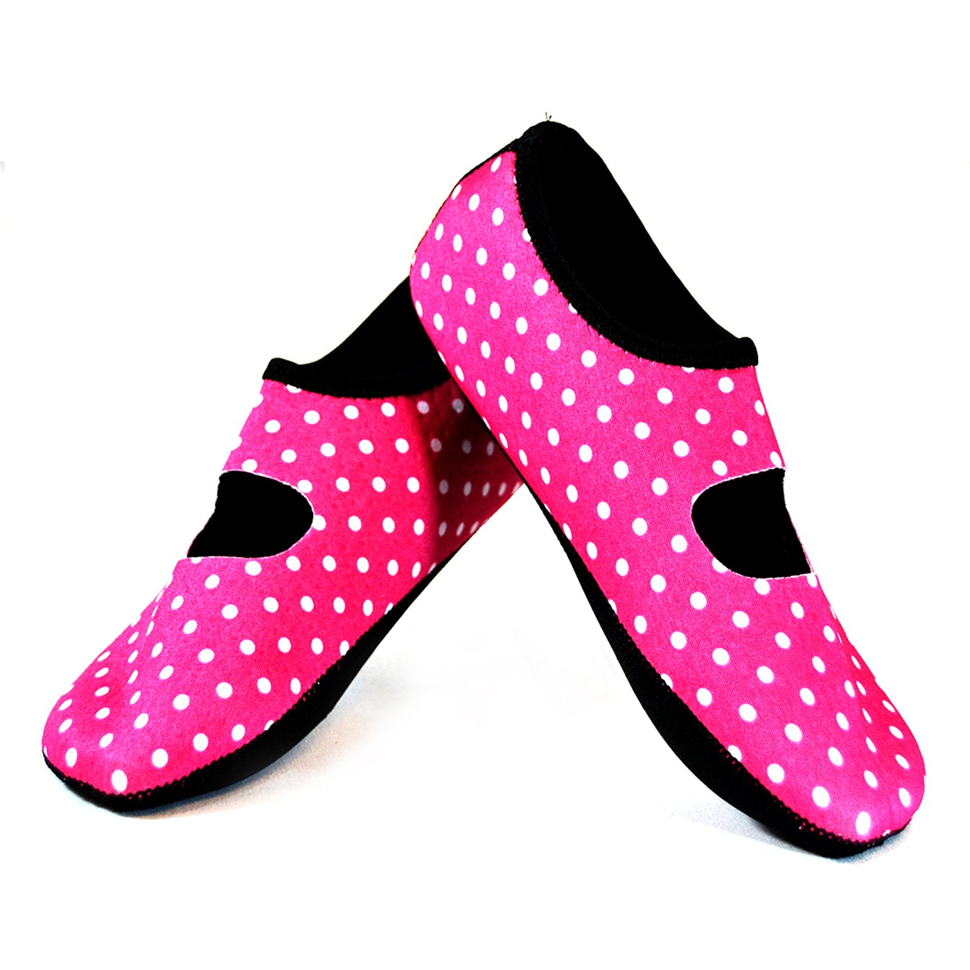 NuFoot Mary Janes Women's Shoes, Best Foldable & Flexible Flats, Slipper Socks, Travel Slippers & Exercise Shoes, Dance Shoes, Yoga Socks, House Shoes, Indoor Slippers, Pink Polka Dots, Medium