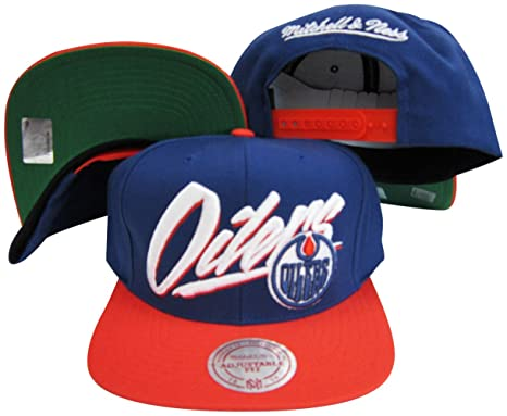Image Unavailable. Image not available for. Color  Mitchell   Ness Edmonton  Oilers Diagonal Script Blue Orange Two Tone Plastic Snapback Adjustable  Plastic 8d1f02abfbcc