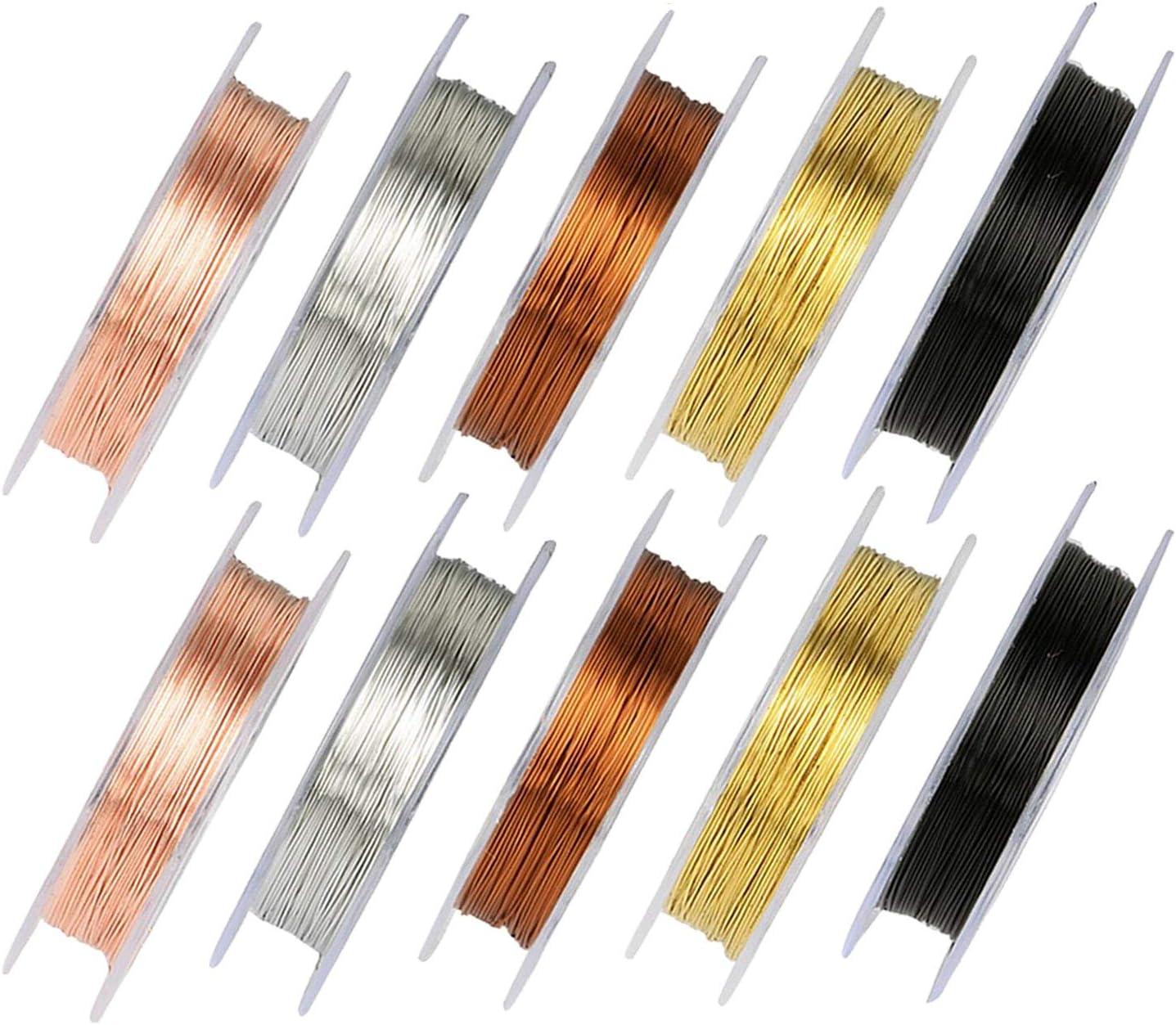 Alambres de cobre para hacer joyería, 10 rollos de alambre de joyería de color de 0.3 mm y 0.5 mm para artesanía artística de bricolaje (10 metros por rollo)
