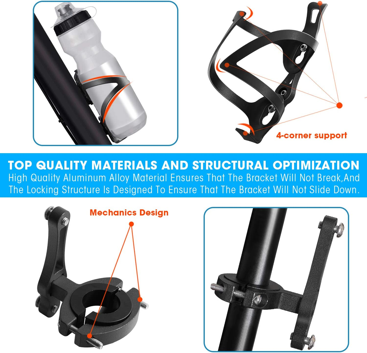 Bike Cup Holder Cycling Mount Drink Bicycle Stroller Handlebar Water Bottle Cage