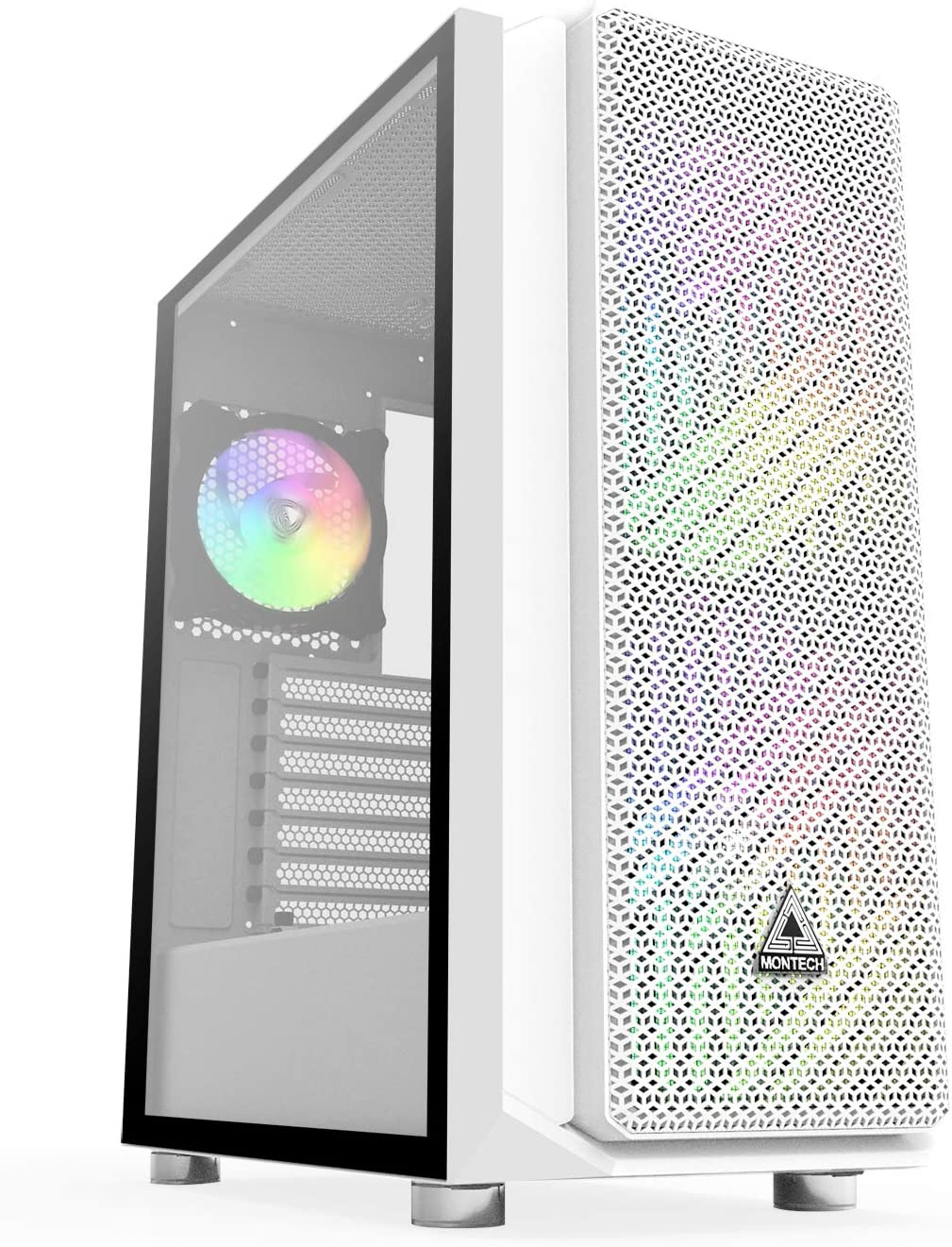 Montech AIR X ARGB White Super High Airflow Motherboard Sync ATX Mid-Tower Case with 2 200mm 5V Addressable RGB Fan + 1 120mm Addressable RGB Fan+ Fan Controller Pre-Installed