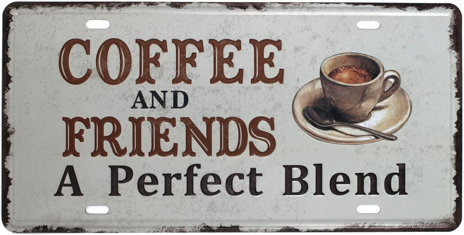 SUMIK Coffee and Friends A Perfect Blend, Metal Tin Sign, Vintage Art Poster Plaque Kitchen Cafe Home Wall Decor