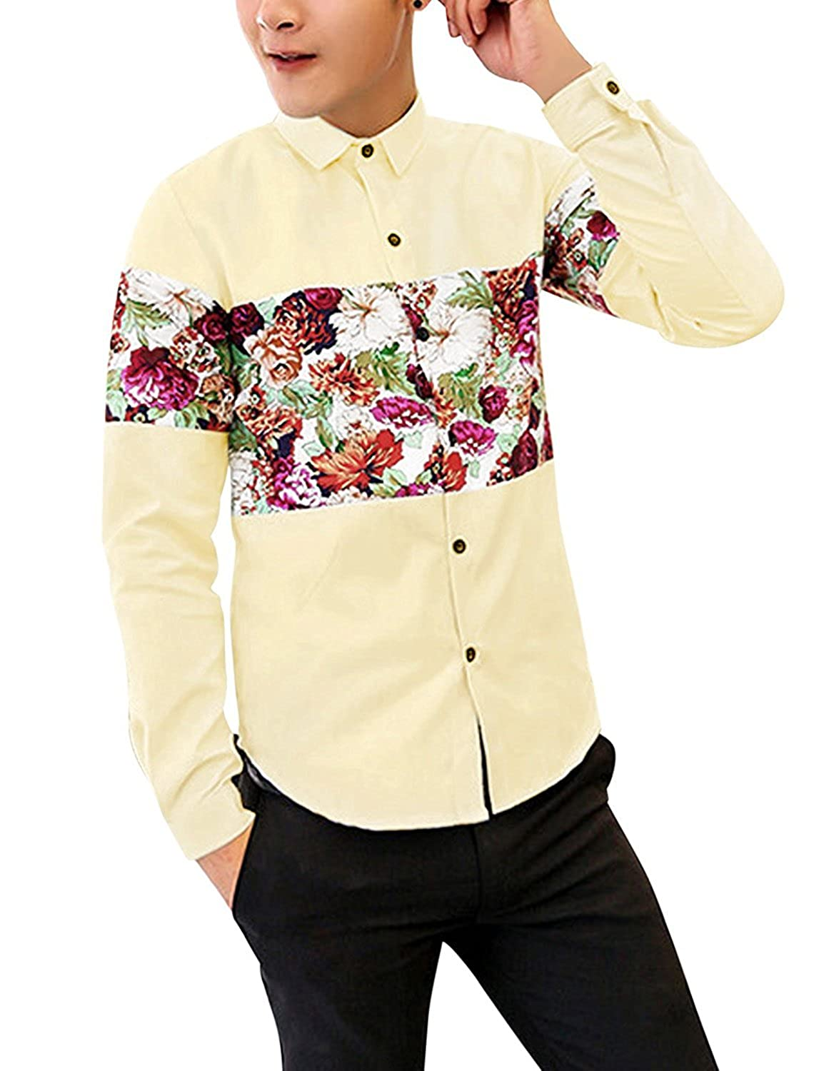 uxcell Men Point Collar Long Sleeves Panel Casual Shirt Yellow M a15052500ux0528