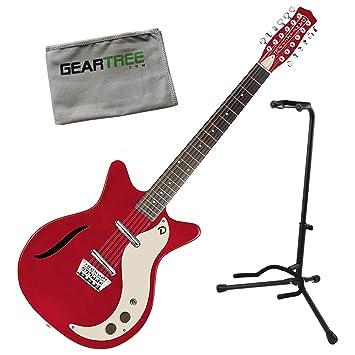 Danelectro 59 Vintage Semi hueca de 12 cuerdas para guitarra eléctrica rojo metálico w/stand
