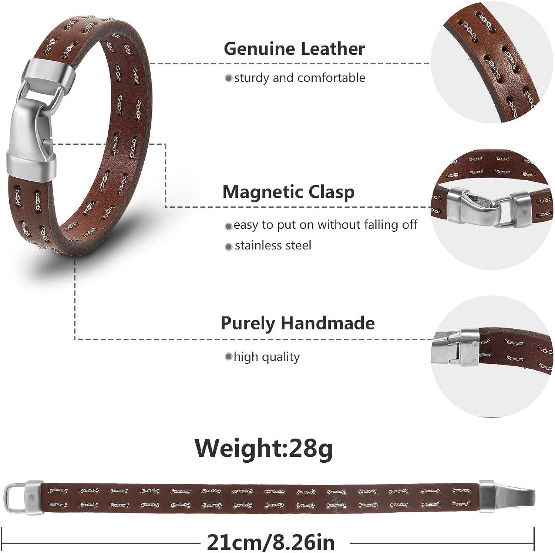Avec Coffret /à Bijoux. Bracelet Cuir Homme Bracelet Magn/étique en Cuir Tress/é et en Acier Inoxydable