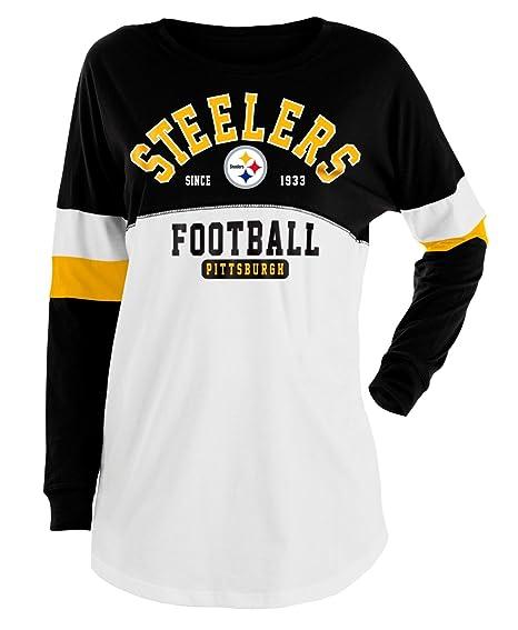 Amazon.com   New Era Pittsburgh Steelers Women s NFL Deep Pass Long Sleeve  Crew Neck Shirt   Sports   Outdoors 92a3a24b49