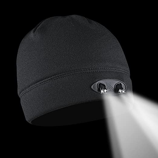 2e87b4a9f2f7d POWERCAP LED Beanie Cap 35 55 Ultra-Bright Hands Free LED Lighted Battery  Powered Headlamp Hat - Black Fleece (CUBWB-4553) - - Amazon.com