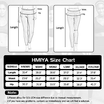 controllo pancia da donna HMIYA Pantaloni da yoga a vita alta con tasche leggings capri elasticizzati in 4 direzioni corsa allenamento