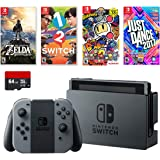 Nintendo Swtich 6 Items Bundle: Switch 32Gb Console Gray Joy-Con,64Gb Sd Card,4 Game Disc1-2-Switch Just Dance2017 The Legend Of Zelda Super Bomberman R
