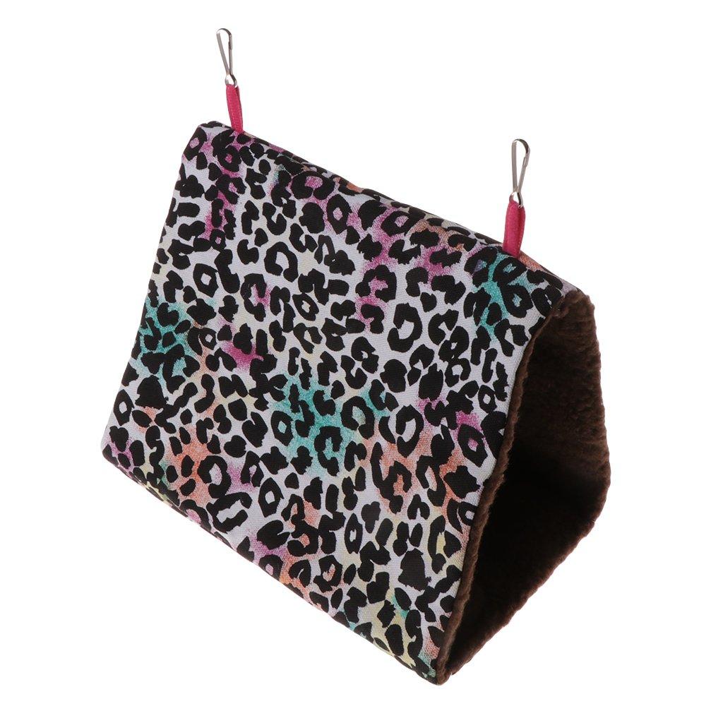 LANDUM Parrot Hammock Pet Birds Bed House Hanging Fuzzy Plush Winter Warm Soft Nest Toy Leopard L