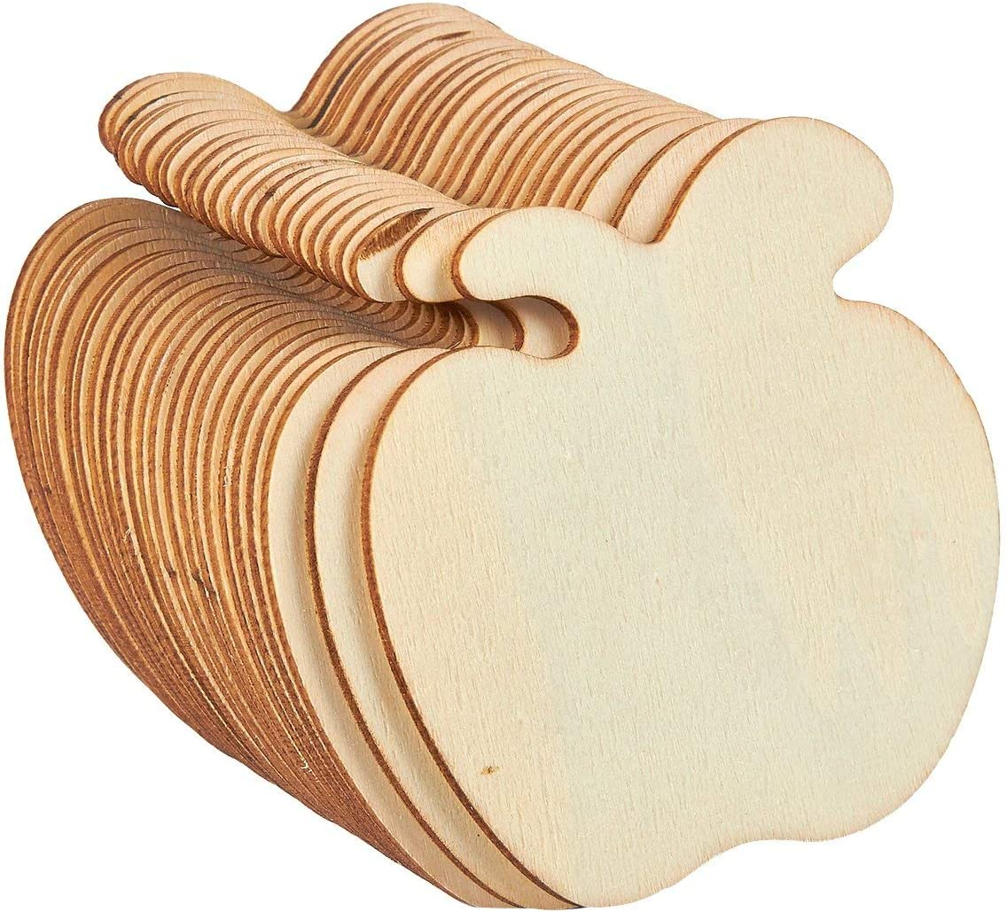 Unfinished Wood Cutout - 24-Pack Apple Shaped Wood Pieces for Wooden Craft DIY Projects, Gift Tags, Home Decoration, 3.5 x 3.5 x 0.1 inches
