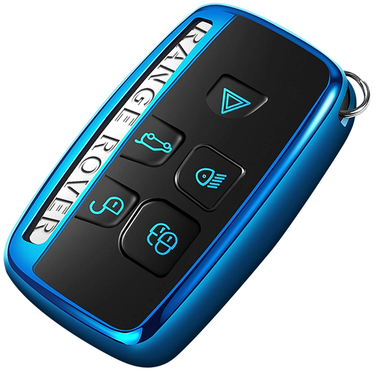 ontto Car Key Cover for Land Rover Range Rover Sport Evoque Velar Discovery 5 2018 2019 Soft Silicone Key Fob Cover Holder Protector Key Case Keyring Blue