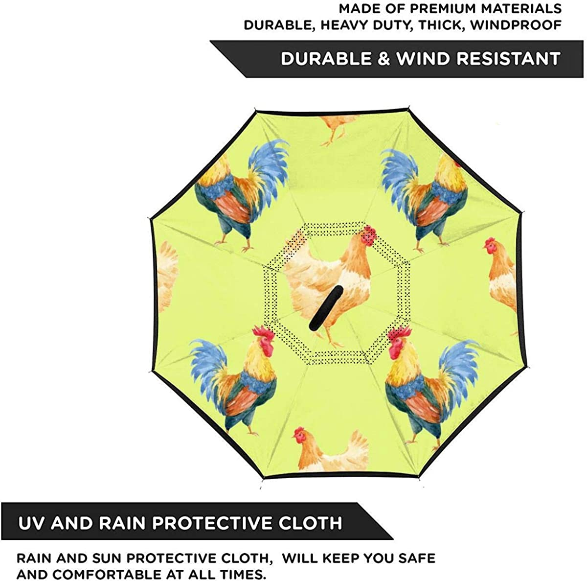 Reverse Umbrella Double Layer Inverted Umbrellas For Car Rain Outdoor With C-Shaped Handle Watercolor Cock Rooster Pattern Customized