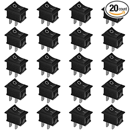 HENMI Mini Boat Rocker Switch 20PCS Toggle Switch 10A/125V 6A/250V 2 Pin  Toggle Switch SPST ON/Off Replacement Switch for Car Auto Boat Household