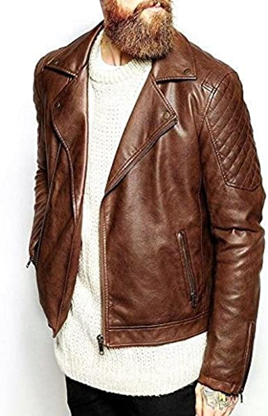 World Of Leather Mens Brown Leather Jacket