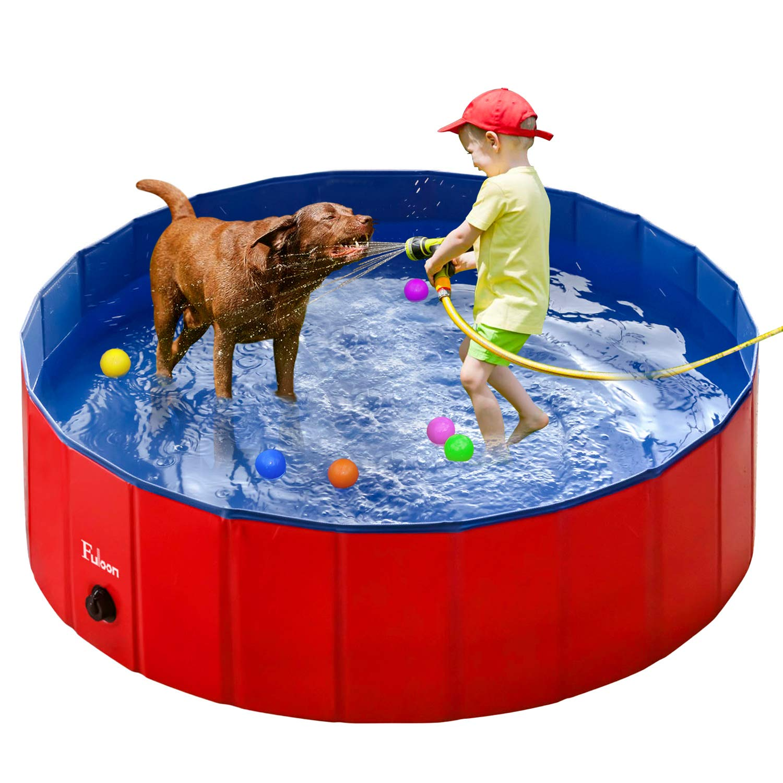 Fuloon Pet Pool PVC Pet Swimming Pool Portable Foldable Pool Dogs Cats Bathing Tub Bathtub Wash Tub Water Pond Pool Pet Pool & Kiddie Pools for Kids in The Gardenmming Pool Water Pond by Fuloon