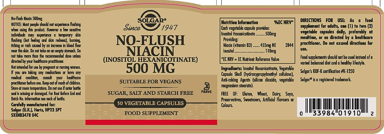 Solgar Niacina no ruborizante 500 mg Cápsulas vegetales - Envase de 50: Amazon.es: Salud y cuidado personal