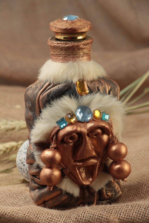 Hecho a mano indio decorativo envase de diseño adornado con cuero y piel: Amazon.es: Hogar
