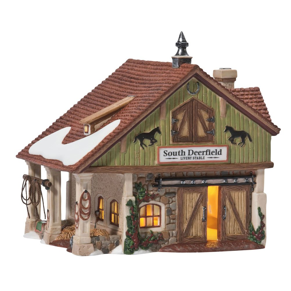 Department 56 New England Village South Deerfield Livery Stable Lit House