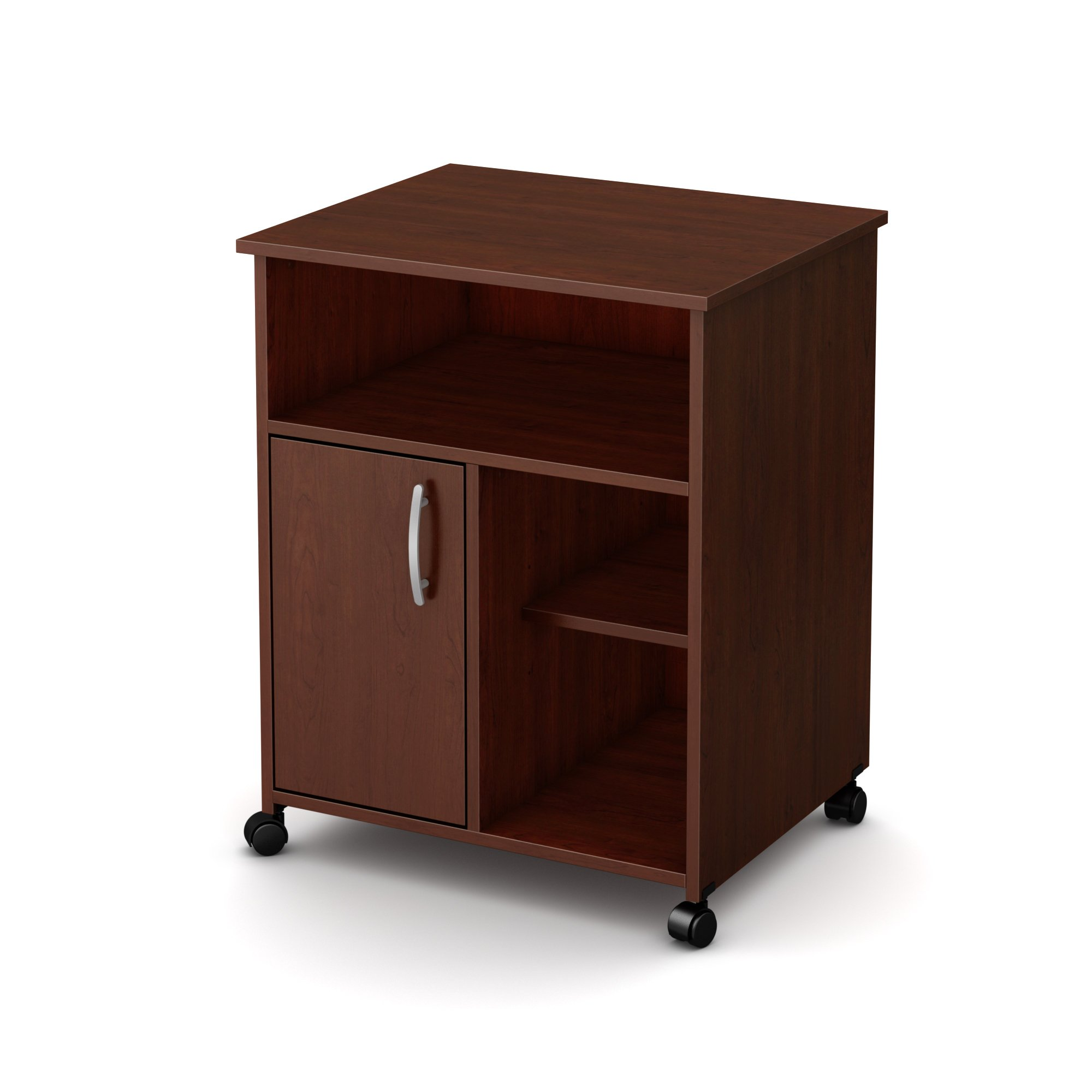 South Shore 1-Door Printer Stand with Storage on Wheels, Royal Cherry