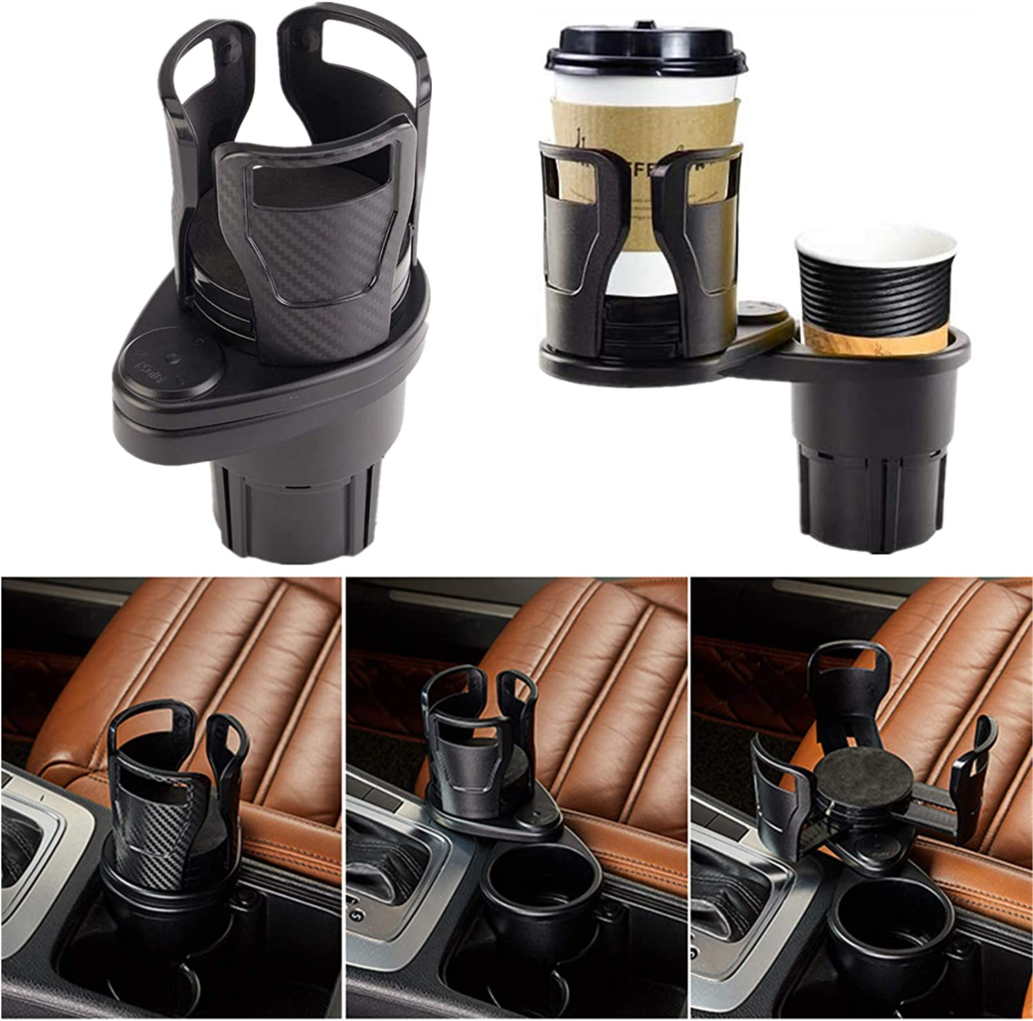 Xergur Multifunctional Car Cup Holder, 2 in 1 Adjustable Size Beverage HoldCarer, Mount Extender with 360° Rotating Adjustable Base to Hold Most Drink Bottles, Coffee and Food
