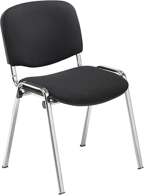 Office Hippo Heavy Duty Stackable Reception Chair Chrome Frame Fabric Black Pack Of 4 Amazon Co Uk Kitchen Home