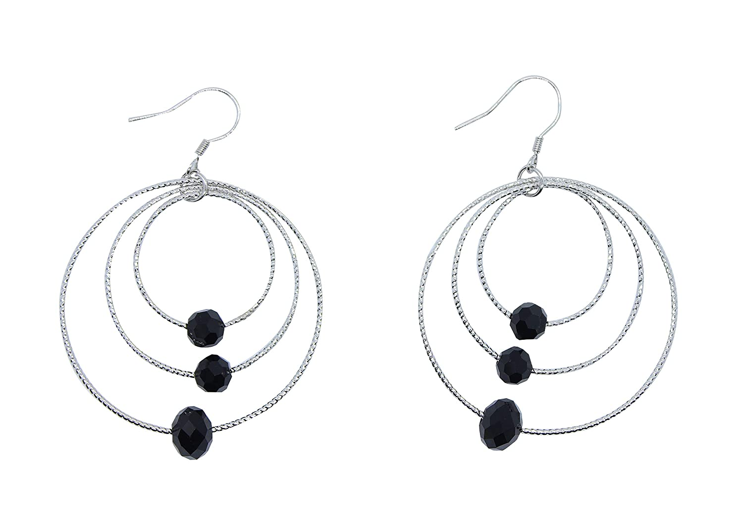 90028f43a Amazon.com: Goddess Area Silver Lightweight Paddle Back Hoop Earrings(Round,Black):  Home & Kitchen