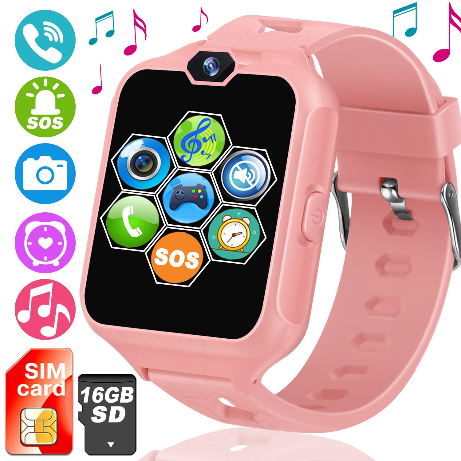 Kids Smartwatch [SIM Card and 16GB Micro SD Card Included], Smart Watch Phone for Children with Touch Screen SOS Camera Games Music Player Alarm Clock ...
