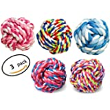 HTKJ 3 Pack of Durable Dog Toys Balls with Aggressive Chews Knot Rope for Medium Large Pet Dogs(Random Color)