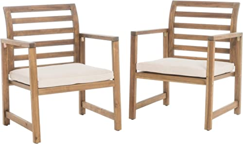 Christopher Knight Home Emilano Outdoor Acacia Wood Club Chairs, 2-Pcs Set, Natural Stained White