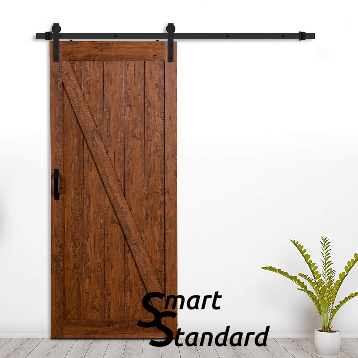 SMARTSTANDARD 36in x 84in Sliding Barn Door with 6.6ft BarnDoor Hardware Kit & Handle, Pre-Drilled Ready to Assemble Wood Slab Covered with Water-Proof PVC Surface (Antique Z-Frame Panel),
