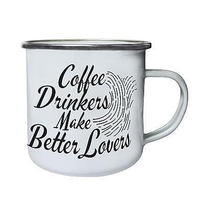 Les buveurs de café font de meilleurs amants Rétro, étain, émail tasse 10oz/280ml cc485e