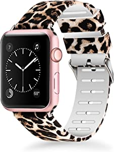 Lwsengme Compatible with Apple Watch Band 38mm 40mm 42mm 44mm, Soft Silicone Replacment Sport Bands Compatible with iWatch Series 5,Series 4,Series 3,Series 2,Series 1 (Leopard Print -6, 38MM/40MM)