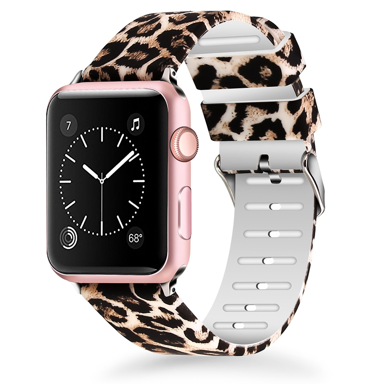 Lwsengme For Apple Watch Band 38mm, Women Soft Silicone Replacment Sport Bands for iWatch Series 3 Series 2 Series 1 - Leopard Pattern Printed