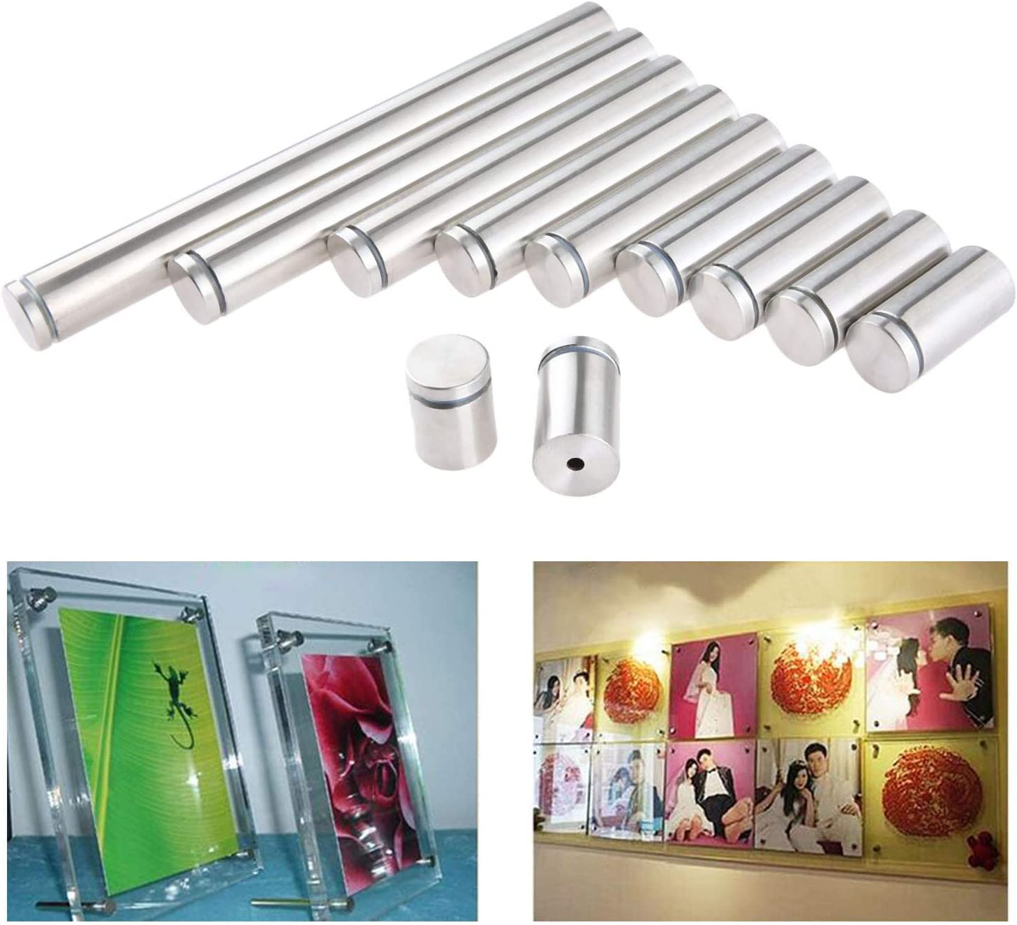 10pcs Edelstahl 25x120mm Glasabstandshalter Schraubenn/ägel Werbung Schraube Standoff Pins
