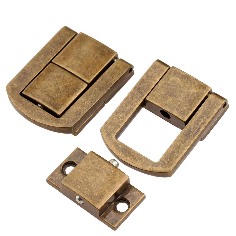 5Pcs 1.18x 0.94 Cierre de cerradura de cerrojo de oro con tornillos para caja de joyer/ía para la Decoraci/ón de maleta dorado