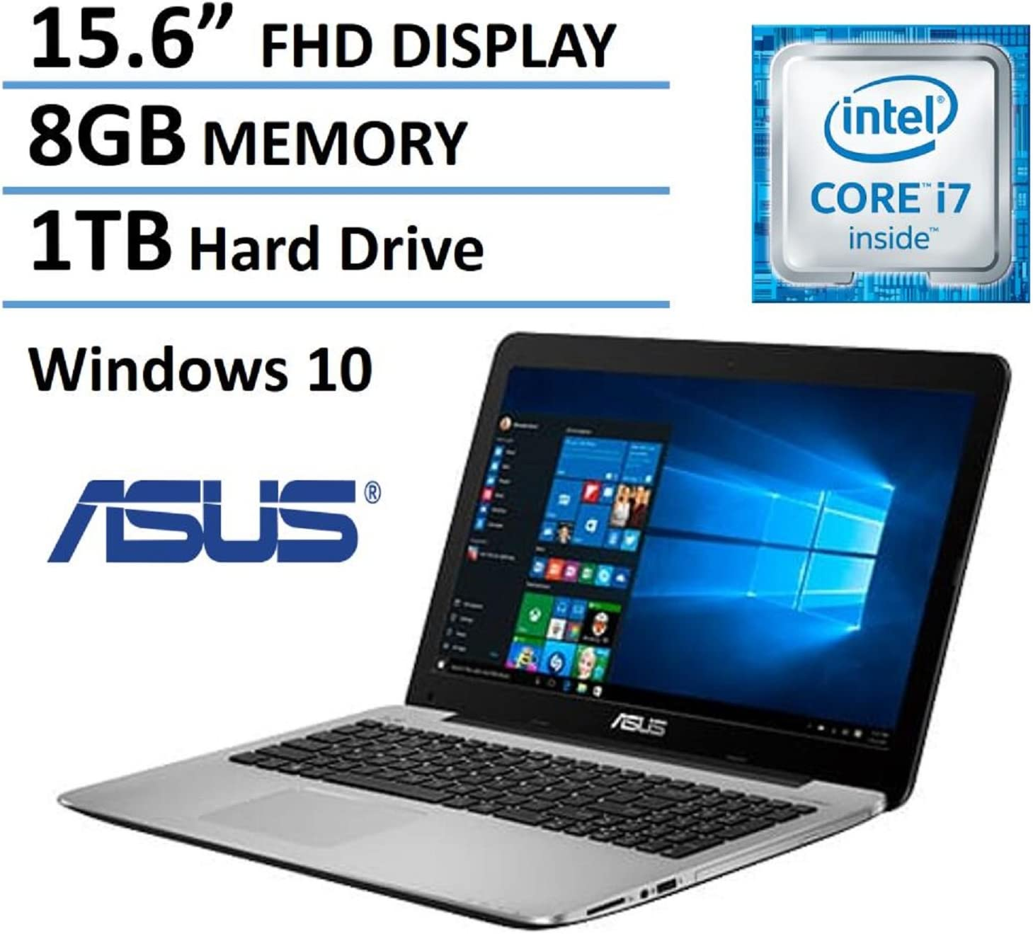 "ASUS 15.6"" Full HD High Performance Laptop 2016 Flagship Edition, Intel Core i7-5500U 3GHz, 8GB Ram, 1TB HDD, DVD Burner, HDMI, VGA, Webcam, Windows 10"
