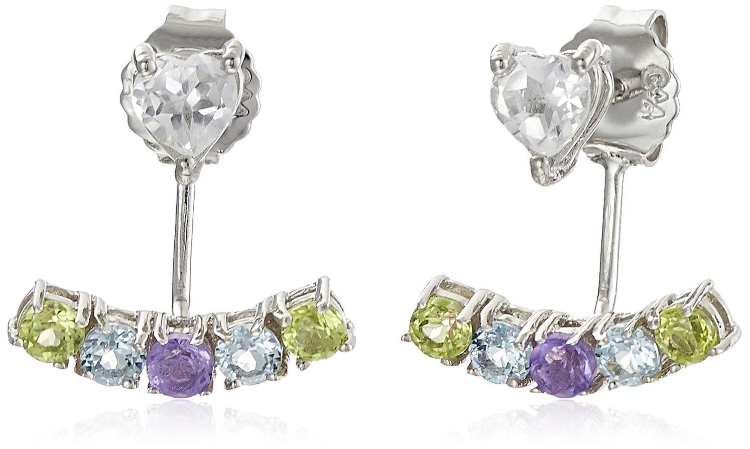 Sterling Silver Multi Gemstone Jacket Earring