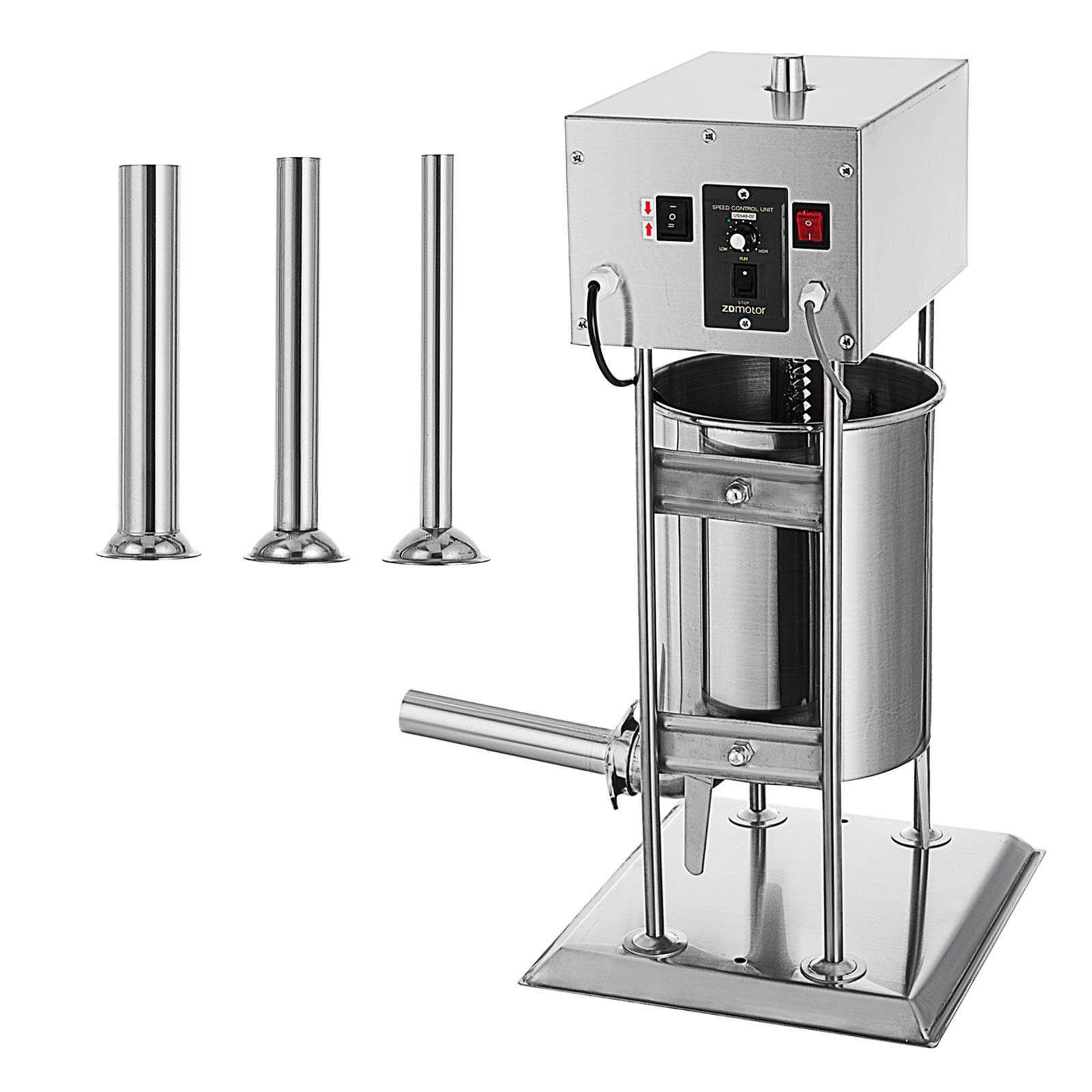 Happybuy Electric Sausage Filler 15L 33LB Vertical Meat Mince Maker Commercial Grade with 4 Filling Funnels Silver by Happybuy
