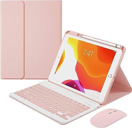 HaoHZ Funda Teclado Español (ñ) para iPad 8a Gen (2020) / 7a Gen (2019) 10,2 Pulgadas, Teclado Inalámbrico Desmontable con Portalápices, Teclado con ...