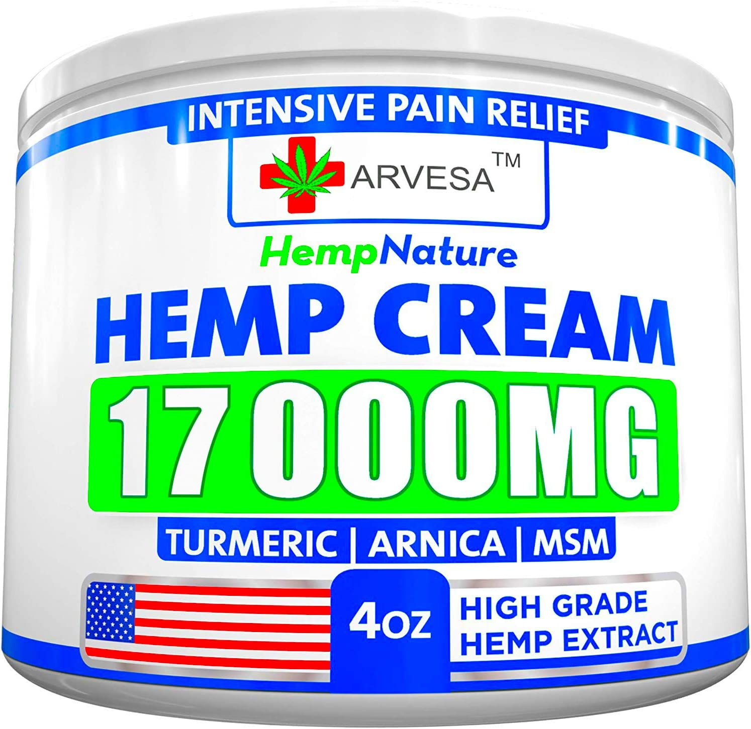 Hemp Pain Relief Cream - 17 000 MG - Made in USA - 4OZ - Relieves Muscle, Joint Pain - Lower Back Pain - Inflammation - Hemp Oil Extract with MSM - EMU Oil - Arnica - Turmeric