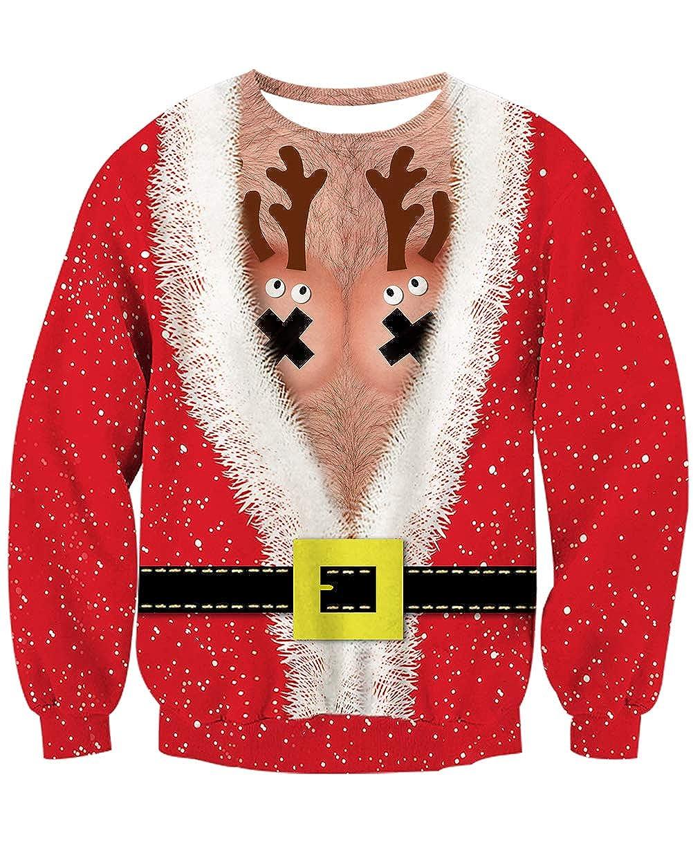 NEWISTAR Sweat Unisexe Homme Femme Pull de No/ël Santa Impression S-XXL