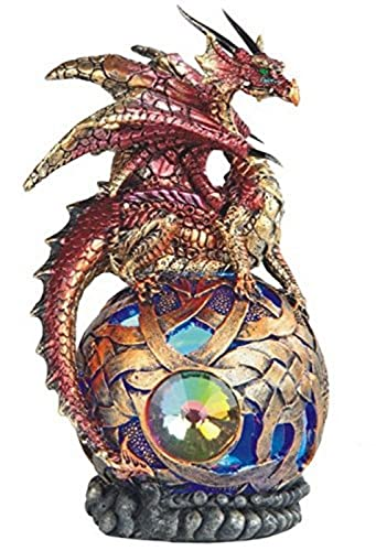 StealStreet SS-G-71506 Sitting Dragon on Light Up LED Orb Statue Display, 6 , Red, 6 , Fuchsia